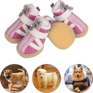 PETLOFT Small Dog Shoes, Reflective Slip Resistant 4pcs Dog Puppy Boots Booties Pet Sneakers with Adjustable Fastener Strap for Small Medium Dogs, Protect Paws Easy to Wear Daily Use