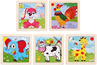 5pcs Kids Wooden Puzzle Toy Cartoon Animal Puzzle Toys Early Education Toys for Children Kids (Assorted Color, Elephant + ...