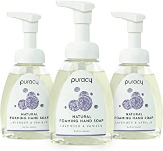 Puracy Natural Foaming Hand Soap, Lavender & Vanilla, Moisturizing Hand Wash, 8.5 Ounce (3-Pack)