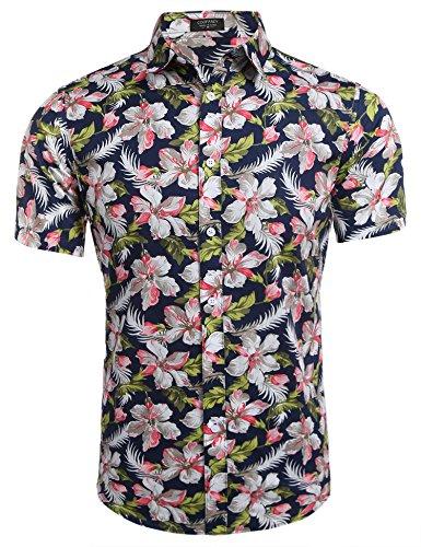 Burlady Herren Sommer Kurzarmhemd Blumenprint Hawaiihemd Hawaiishirt Freizeithemd Urlaub Hawaii-Print Gr:-L, Farbe:-Dunkelblau