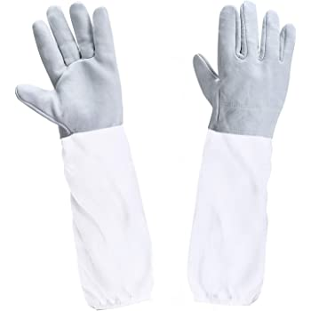 BESTOPE Beekeeping Gloves Upgraded Premium Goatskin Leather Beekeeping Supplies with Long Canvas Protective Sleeves & Elastic Cuffs
