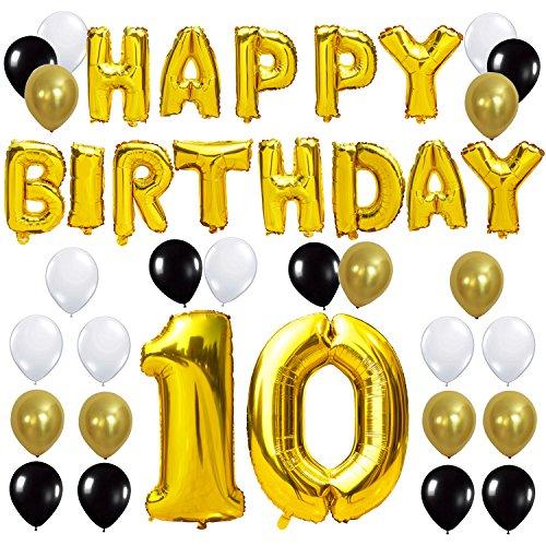 KUNGYO Joyeux Anniversaire Happy Birthday Lettres Ballon+Nombre 10 Mylar Foil Ballon +24 pièces Noir Or Blanc Latex Ballon- Parfait pour la Décoration de Fête d'anniversaire de 10 Ans