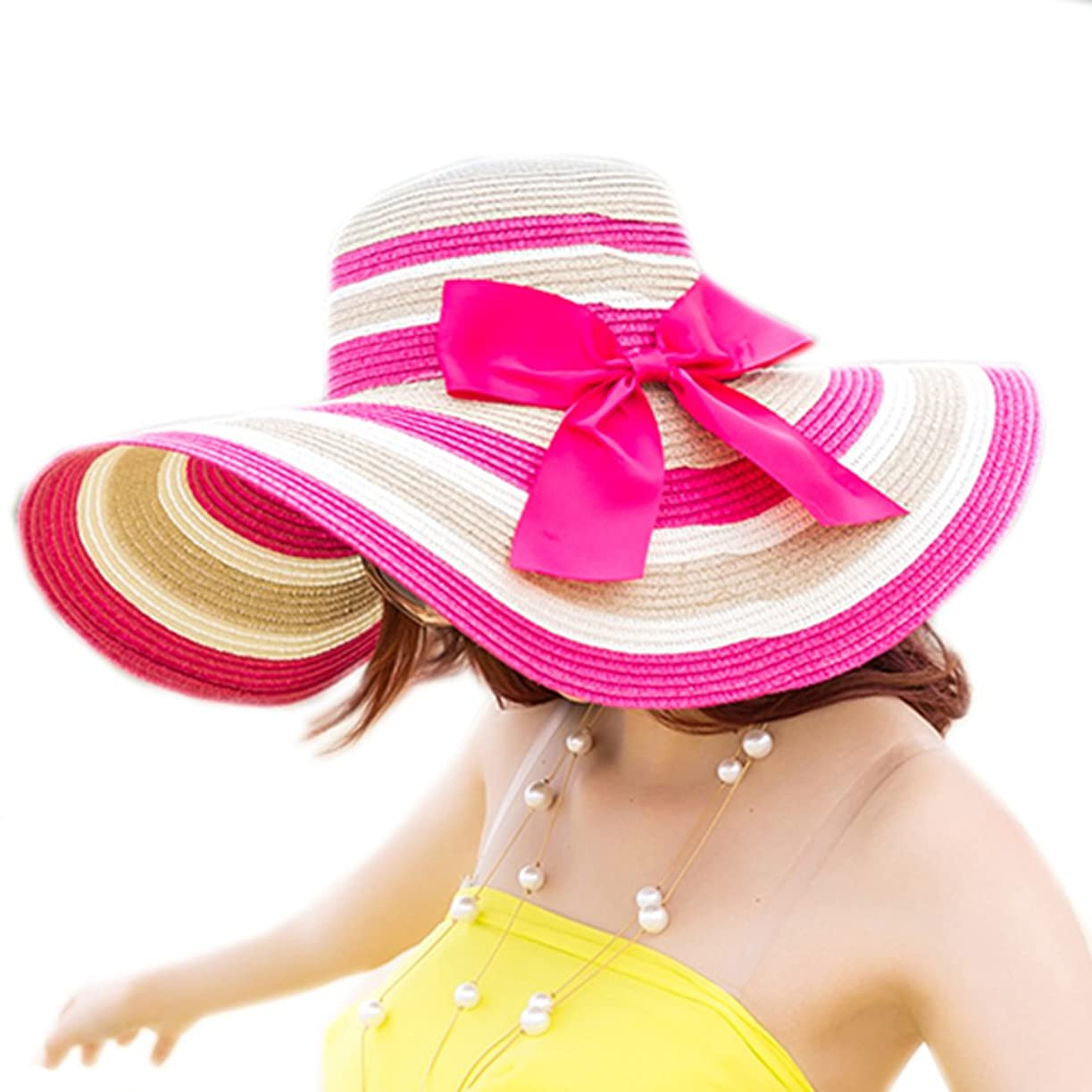 更新ブレス位置づける日焼け止めUV保護レディース夏Straw Sunキャップ折りたたみ式ビーチハットWide Brimキャップ