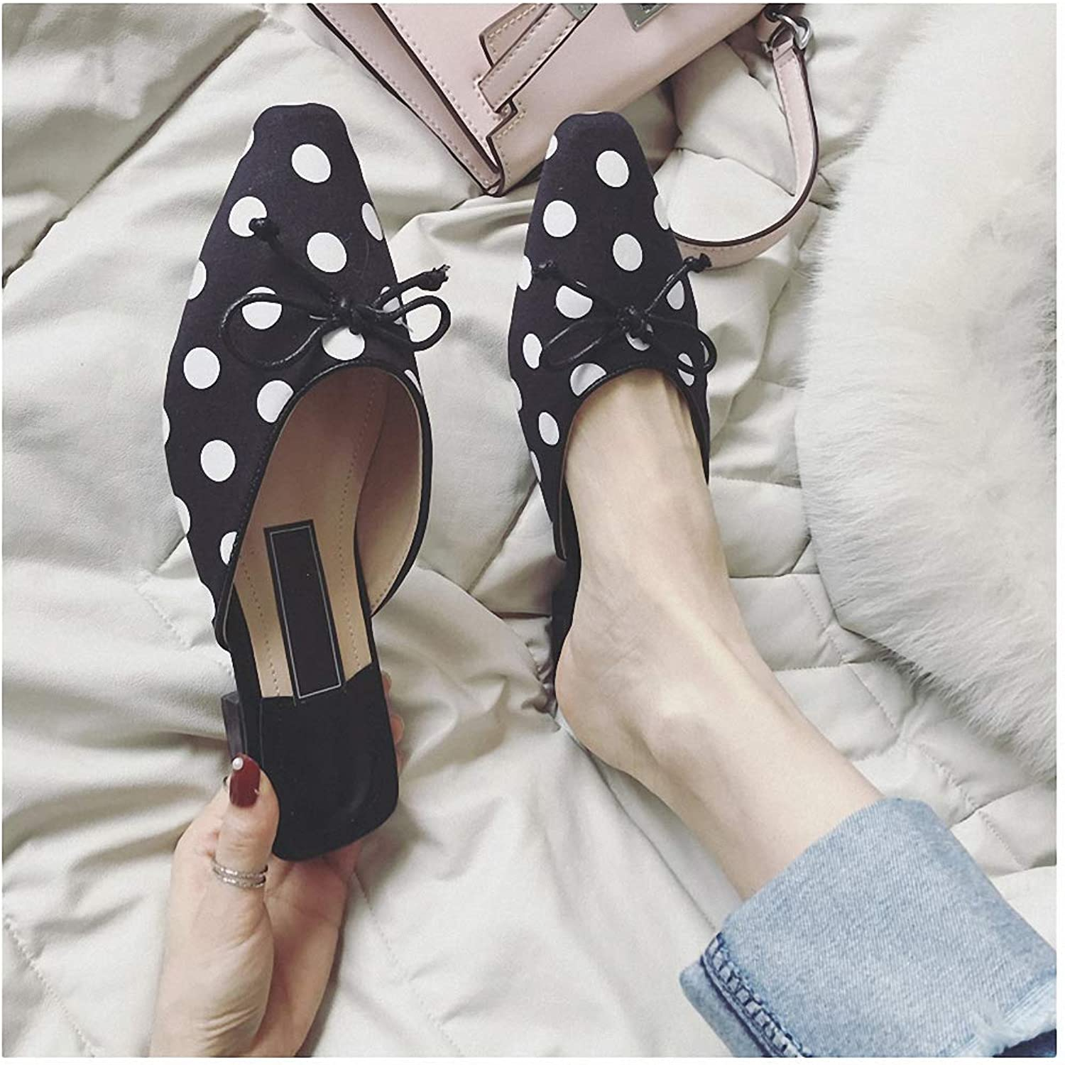 Womens Low-Heeled Sandal shoes Lazy Half Slippers Female New Outside Wearing shoes Female Wave Point No Back Flat Slippers