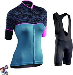 Cycling Jersey Set for Women Biking Short Sleeve Set with 19D Gel Padded Shorts,Cycling Clothing Set for MTB Road Bike,A,4XL