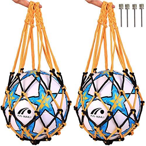 Qiwenr Bolso de Malla de Malla de FúTbol con Una Sola Bola,Bolsa de Almacenamiento con Cordó Fútbol Baloncesto Bolsa de Transporte Bolsa de Red de Voleibol,2PCS Aguja Inflable Esférica