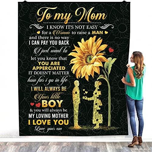 TeeShiny To My Mom I Know It's Not Easy for A Woman to Criar a un niño Love Your Warm Bed Mantas – Decorar Dormitorios Hogar Manta Sherpa (50' x 60')