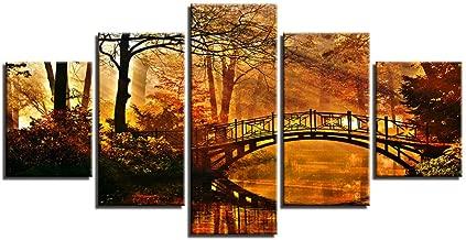 MONDFH 5 canvas paintings Canvas Painting Home Decor HD Prints Tree Poster 5 Piece Classic Sun Shining Bridge Autumn Landscape Pictures Wall Art