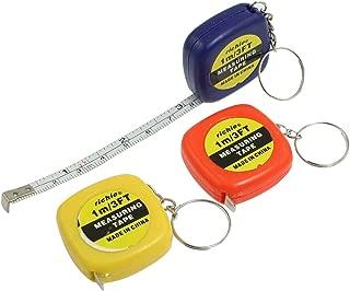 uxcell 3 Pcs Keys Holder Measuring Tool 1 Meter 3 Feet Mini Tape Measure w Key Ring
