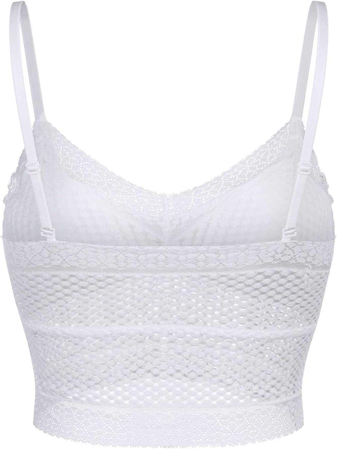 ManxiVoo Cami Lace Longline Bralette Padded Wirefree Bra V Neck Camisole Crop Top for Women Girls