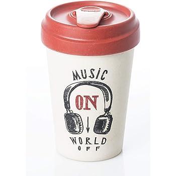 BambooCup Music on World Off Weiß Schwarz Rot Coffee-to-Go-Becher aus Bambus Umweltfreundlich 400ml Neu Bamboo0020