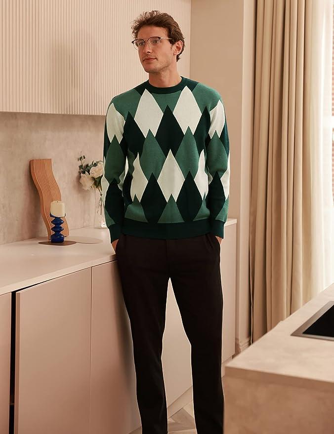 1960s Mens Shirts | 60s Mod Shirts, Hippie Shirts GRACE KARIN Mens Retro Argyle Sweater Long Sleeve Slim Fit Crewneck Pullover Sweater  AT vintagedancer.com