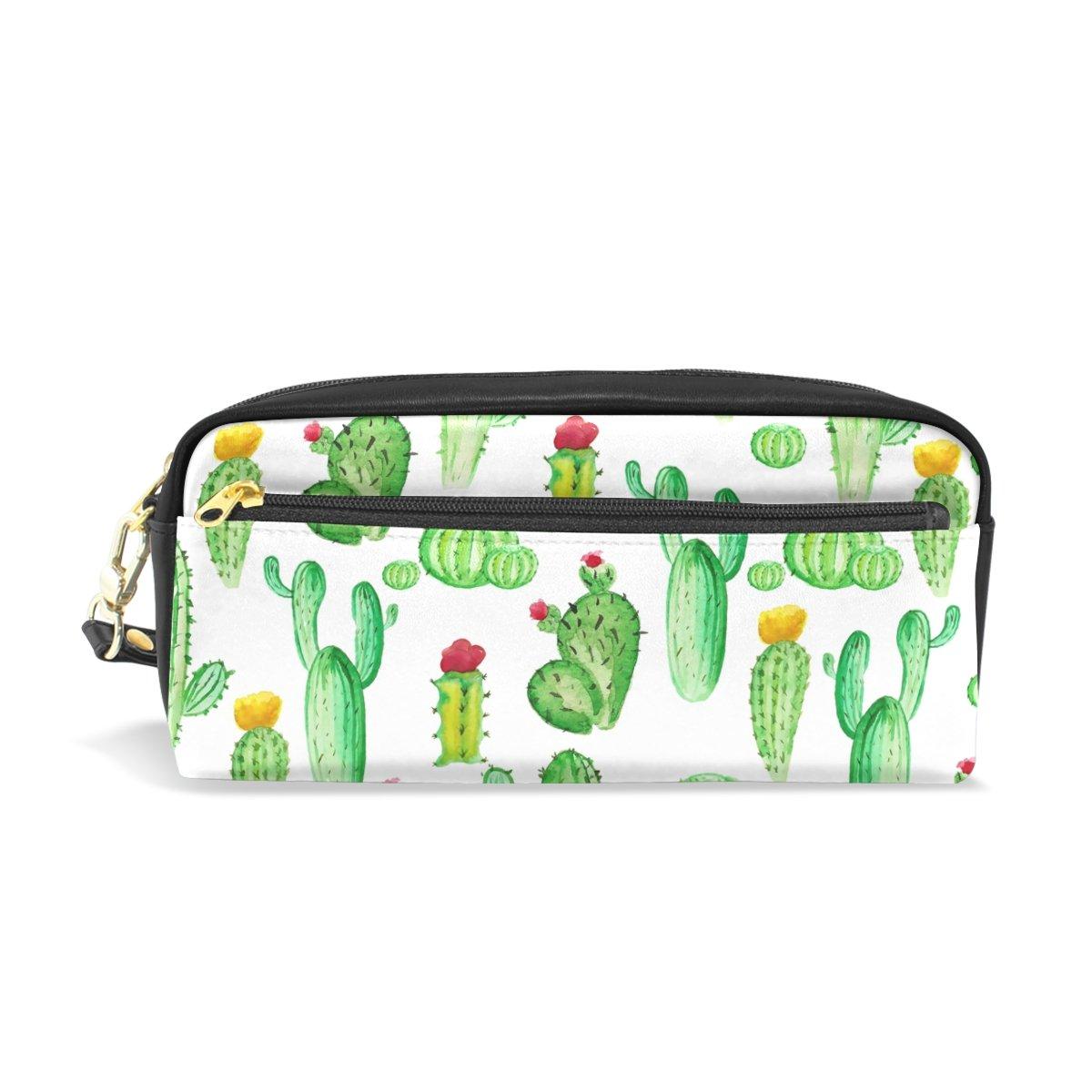 Cactus Estuche de lápices, bolígrafo de piel impermeable, bonito estuche de colores para monedas, bolsa de maquillaje con cremallera para niñas y niños: Amazon.es: Oficina y papelería