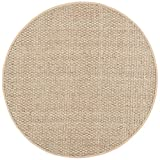 Safavieh Natural Fiber Collection NF114A Basketweave Natural and Beige Summer Seagrass Round Area Rug (6' Diameter)