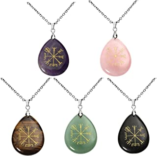 """QGEM Guidepost Compass Vegvisir Pendant Necklace Engraved Old Northern Europe Viking Rune with Chain 24"""""""