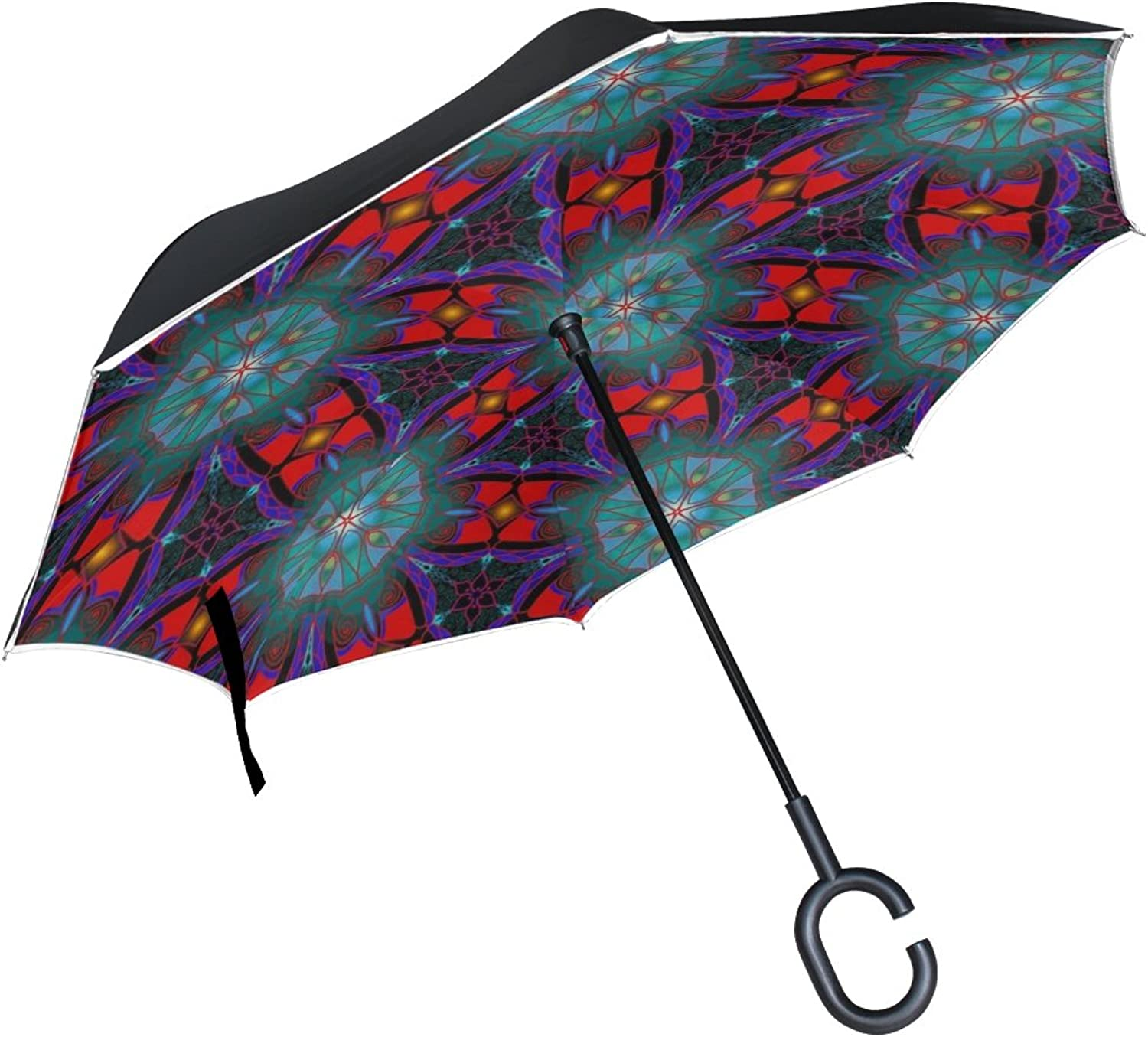 Double Layer Ingreened Ornament colorful color Design Umbrellas Reverse Folding Umbrella Windproof Uv Predection Big Straight Umbrella for Car Rain Outdoor with CShaped Handle