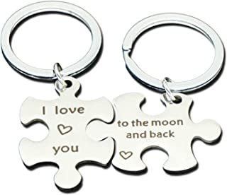 Wife Husband Anniversary Gift Keychain for 2 Couple Keyring for Lovers Men Women
