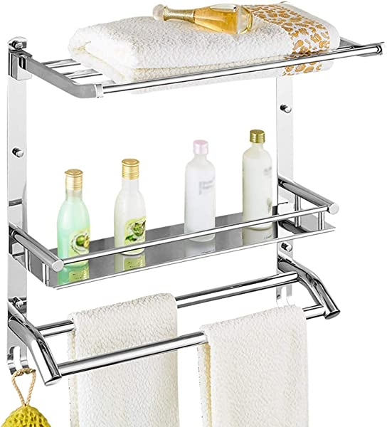 ZHANWEI Bathroom Shelf Shower Organiser Wall Mounted Towel Rack 304 Stainless Steel 3 Tiers Foldable Punch Installation 3 Sizes Size 50x24x56 5cm