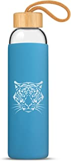 Zenbo 20oz Glass Water Bottle with Protective Silicone Sleeve and Bamboo Lid