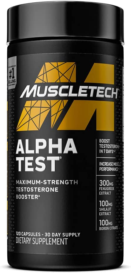 Testosterone Booster for Men   MuscleTech AlphaTest   Tribulus Terrestris & Boron Supplement   Max-Strength ATP & Test Booster   Daily Workout Supplements for Men, 120 Pills (Package May Vary)