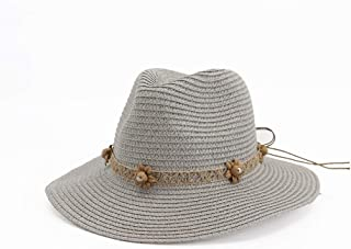 Summer Sun Hat Casual Vacation Panama Straw Hat Women Wide Brim Beach Jazz Hats Foldable Chapeau` TuanTuan (Color : Gray, Size : 56-58CM)