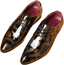 Lucky Wind Tuxedo Oxford Patent Leather Plain Toe Wedding Dress Shoes for Men Lace up Comfortable Formal Business Shoes