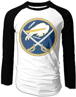 Sabres - Buffalo Logo Men's Casual Full Long Sleeve T-Shirt Cotton Raglan Baseball Jersey