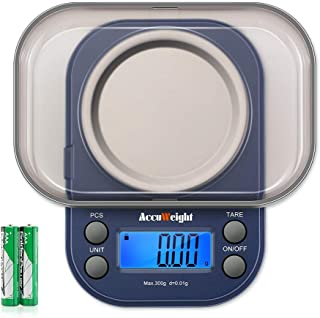 AccuWeight 255 Mini Digital Weight Scale for School Travel Jewelry Pocket Gram Scale 300g/0.01g with Tare and Calibration Food Kitchen Scale
