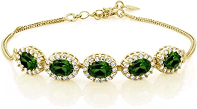 Gem Stone King 5.04 Ct Green Chrome Diopside 18K Yellow Gold Plated Silver Bracelet 7 inches + 1.5 inches Extender