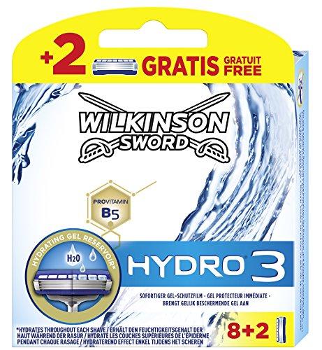 Wilkinson Sword Hydro 3 Rasierklingen für Herren, 10 Klingen, Rasierer 8 + 2 St
