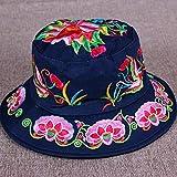 Lässiger Hut Baumwolle und Leinen bestickte Hutkappe Retro Dame Hut voller Hut Stickerei Sonnenschirm Schatten Hut Outdoor Sonnenschutz Sonnenhut-C3