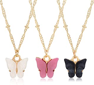 PHALIN Butterfly Necklace for Women Cute Butterfly Pendant Necklace Set Delicate Gold Chain Necklaces Animal Insect Jewelr...