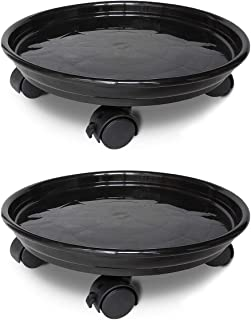 JzNova 2 Pack of Plant Pallet Caddy, Planter Pot Mover, Plant Pot Pallet Dolly Caster with Universal Wheels, Black