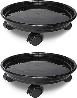 JzNova 2 Pack of Plant Pallet Caddy, Planter Pot Mover, Plant Pot Pallet Dolly Caster with Universal Wheels, Black