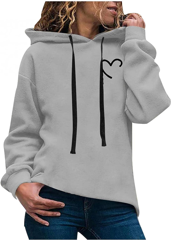 ONHUON Hoodies for Women,Women's Fashion Heart Printed Long Sleeve Hooded Sweatshirt Pullover Casual Loose Hoodie Tops