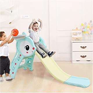Toddler Climber and Swing Set | 3 in 1 Kids Play Climber Slide Playset Indoor Outdoor Playground Toy with Basketball Hoops Activity Center in Backyard (from US, Blue) (from US, Blue-11)