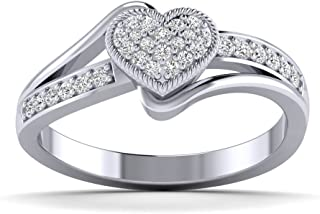Fehu Jewel 0.24cts Natural Diamond Gold Over Sterling Silver Diamond Heart Ring for Your Love (White-Gold-Plated-Silver, 7)
