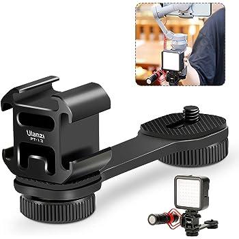 Ulanzi PT-3 三つシューブラケット アルミ製 ユニバーサルブラケット 1/4'' フラッシュブラケット 三台同時設置可能 荷重3kg カメラマクモニターに DJI OSMO Mobile 2 mobile 3 Zhiyun Smooth 4/Feiyu Vimble 2などのジンバルスタビライザーに対応