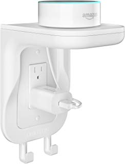 OMOTON Wall Mount Outlet Shelf Charging Shelf with [Built-In Cable Management] [Assembled Hooks] [Decore&Duplex Wallplates] - High Space Utilization for Smart Home Speakers Cell Phone etc - White