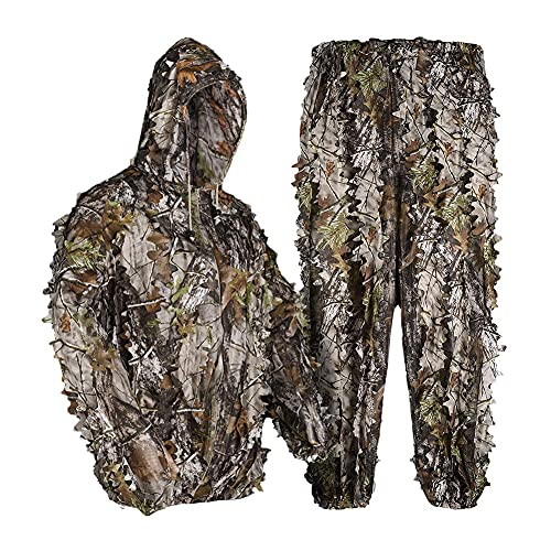 LOOGU Ghillie Suit 3D Maple Leafy Camouflage Clothing Super Lightweight Hooded Outfit for Hunting, Shooting, Wildfowl, Paintball, Wildlife Photography, Halloween or Christmas