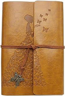Wenosda Cuaderno de escritura Vintage/Bloc de notas Patrón de mariposa Sketchbook de cuero retro para escribir Diario Travel (amarillo, 7.3×5.1 pulgadas, 185 * 130 mm)