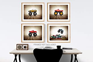 Vintage Monster Truck Wall art, Set of 4 UNFRAMED Photos or Canvas multiple sizes available,
