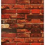 Papel Pintado Autoadhesivo Rojo Naranja y Marrón Vintage Ladrillo Rústico Contacto Rollo de Papel Para Cocina Decoración de Pared Papel de Contacto Para Cocina Dormitorio y Sala de Estar 45x500cm