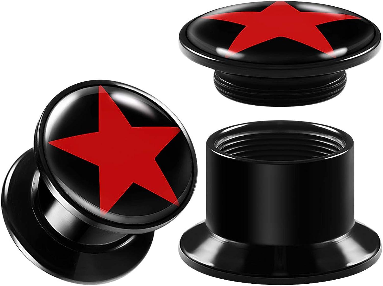 BIG GAUGES Pair of Internally Threaded Black Acrylic Double Flared Piercing Jewelry Ear Plug Stretcher Lobe Earring