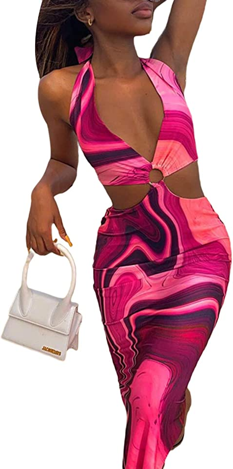 Women 's Sexy Halter Rosy Tie-Dyed Printed Y2K V-Neck Dress Backless Long Dress E Girl Streetwear