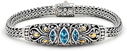 Deni Jewelry Sterling Silver 925 and 18Kt Yellow Gold Bracelet with Balinese Flower Motive and Blue Topaz Sky Stone for Women and Father's Day Jewelry Gift, Spring Lock with 925 18K Stamp