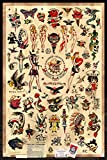Sailor Jerry Tattoo Flash (Style B) Poster 24x36' (60.96 x 91.44 cm) A Certified PosterOffice Print with Holographic Sequential Numbering for Authenticity