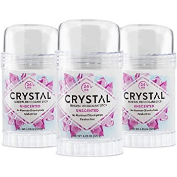 CRYSTAL Mineral Deodorant Stick - Unscented Body Deodorant With 24-Hour Odor Protection, Non-Staining & Non-Sticky, Aluminum Chloride & Paraben Free, 4.25 FL OZ, (Pack of 3)