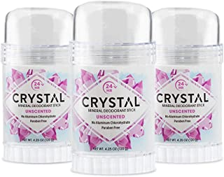 CRYSTAL Mineral Deodorant Stick - Unscented Body Deodorant With 24-Hour Odor Protection, Non-Staining & Non-Sticky, Alumin...