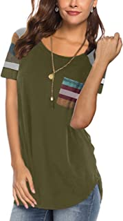 Aokosor Women's Casual Short Sleeve Round Neck Loose Tunic T Shirt Blouse Tops with Pocket